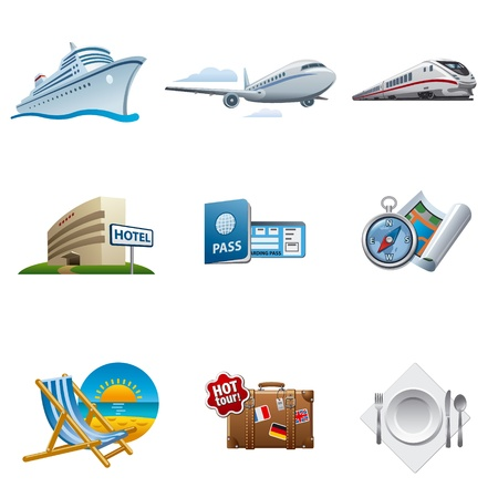 tourismus icon: Reisen und Tourismus Icon Set Illustration