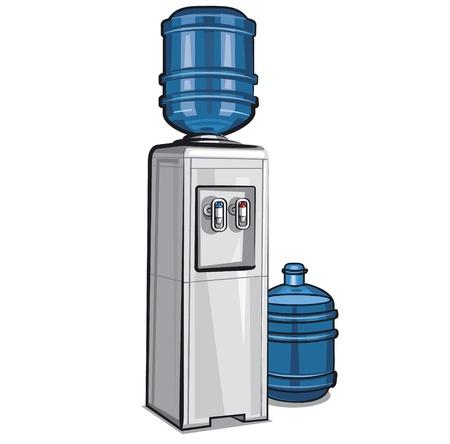 dispensador: Enfriador de agua el�ctrico con una botella Vectores