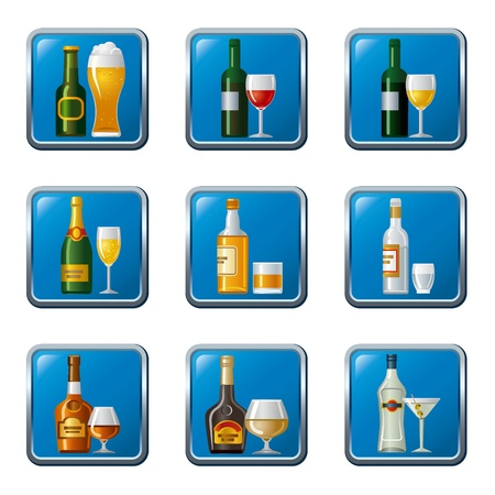 soft drinks: alcohol drinks icon set buttons
