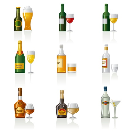 cognac: alcohol drinks icon set