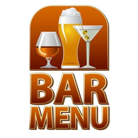 brandy glass: bar menu sign