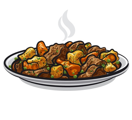 beef stew with steamy vegetables Illustration