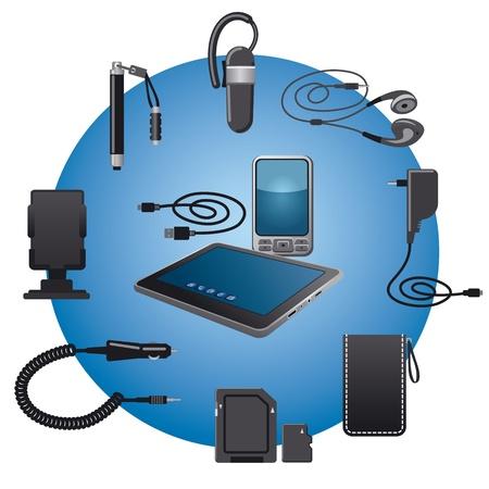 モバイル デバイスの付属品のアイコンを設定  イラスト・ベクター素材