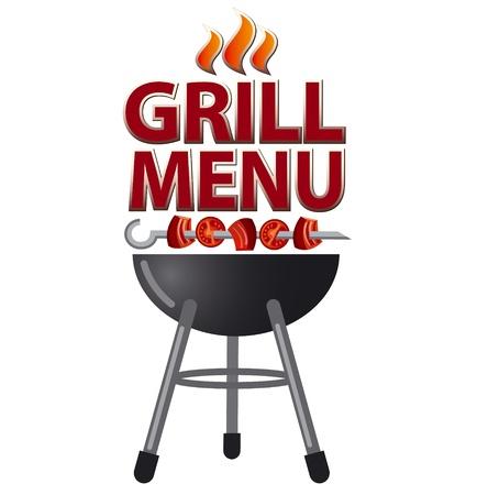 grill meat: conception de carte de menu Grill Illustration