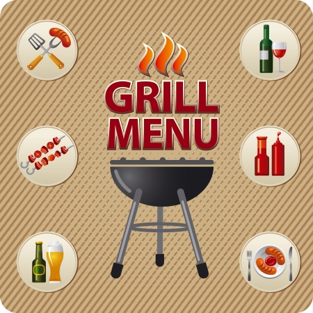 Grill menu card design template Vector