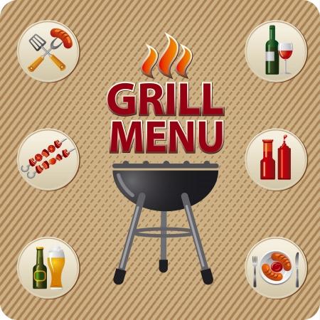 Grill menukaart ontwerp sjabloon Stock Illustratie