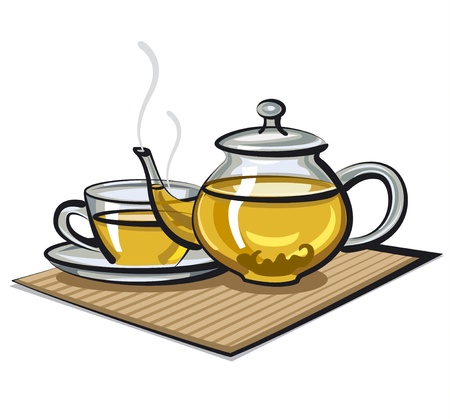 jasmin: green tea in cup and teapot Illustration
