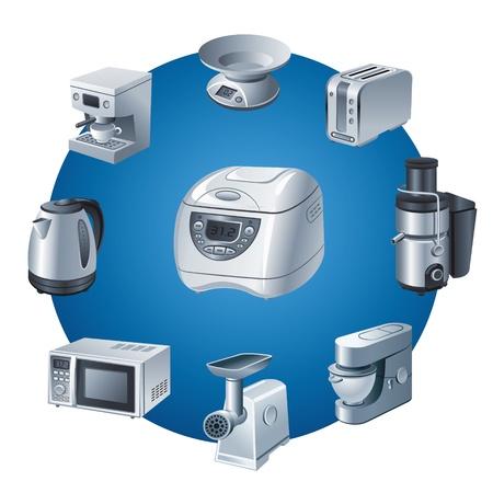 キッチン家電製品のアイコンを設定  イラスト・ベクター素材
