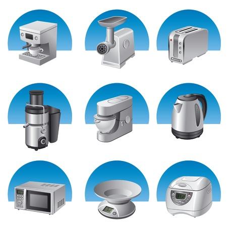 小さい台所電気器具のアイコンを設定  イラスト・ベクター素材