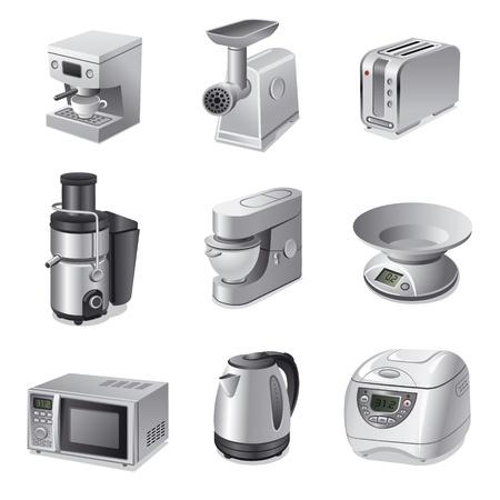 kettles: aparatos de cocina conjunto de iconos Vectores
