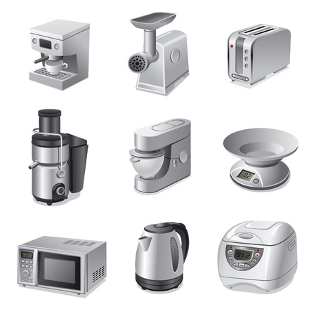 kitchen appliances icon set Vector