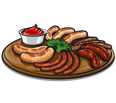 gegrilde worstjes met saus op het bord