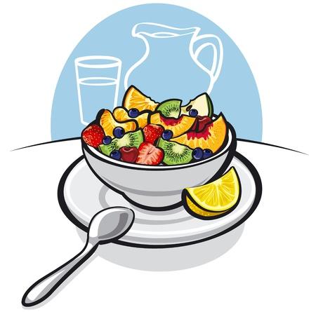 fresh fruit salad Vectores