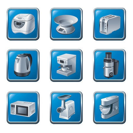food processor: kitchen appliances buttons icon set