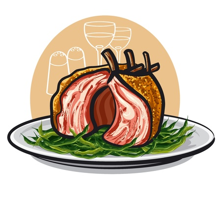 grilled lamb rack joint with green beans Vector