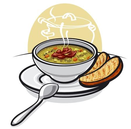 soupe aux pois avec jambon et toasts Vecteurs