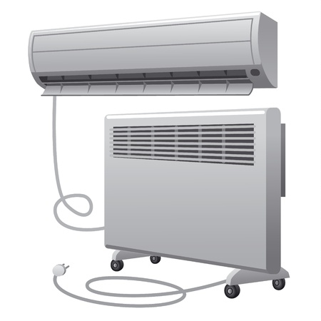 air conditioning and oil heater Vector
