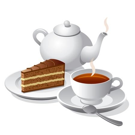 thé et icône de gâteau
