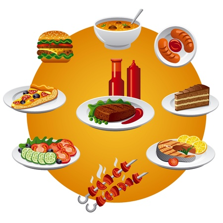 steak plate: icono de los alimentos Vectores