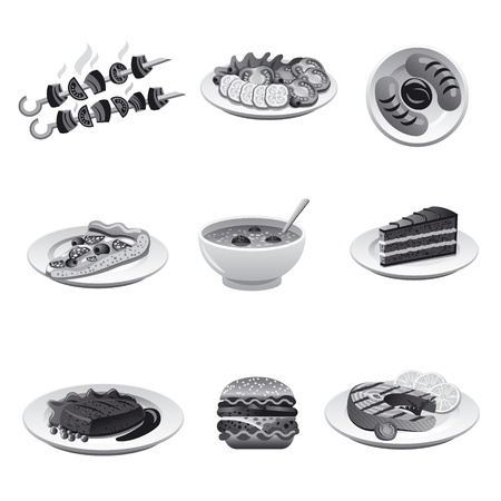 food icon set gray Vector