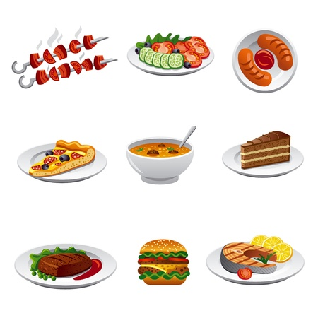 soup and salad: food icon set