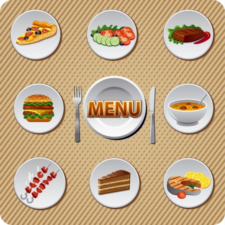 soup and salad: restaurant menu design Illustration