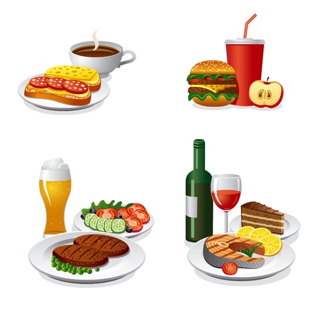 daily meals icon set Vector