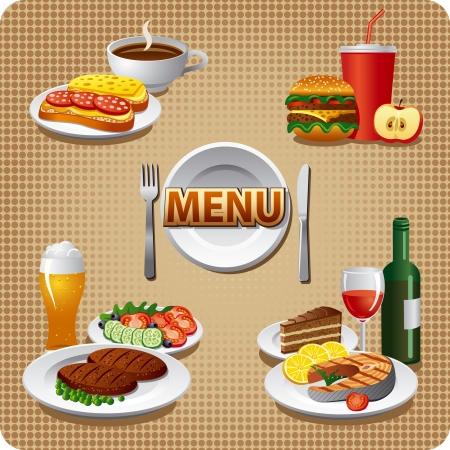 dagmenu maaltijden Stock Illustratie