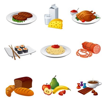 piatto cibo: cibo e pasto set di icone Vettoriali