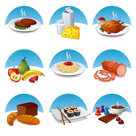 pietanza: cibo e pasto set di icone Vettoriali