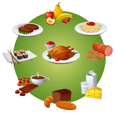 日本料理: 食品や食事のアイコンを設定  イラスト・ベクター素材