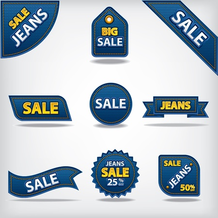 discount coupon: jeans sale labels and stickers
