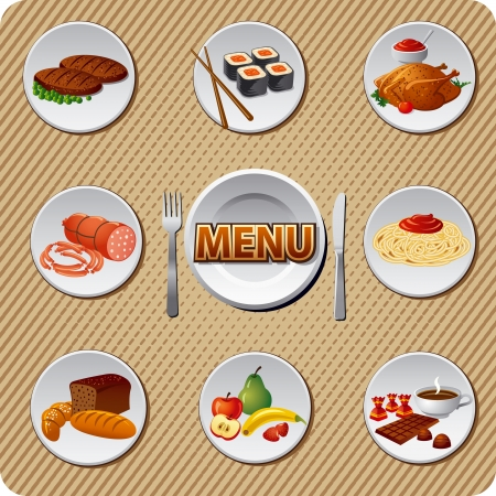 steak plate: food and meal icon set