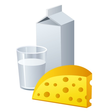 milk cheese: milk and cheese Illustration