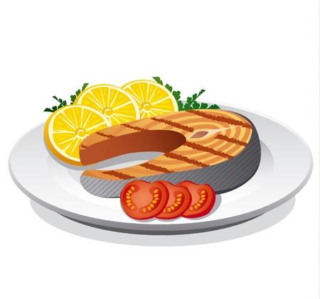 steak plate: sreak salm�n preparado
