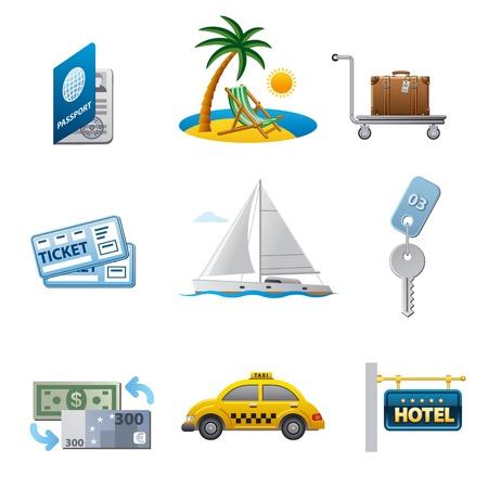 clave sol: conjunto de iconos de viajes