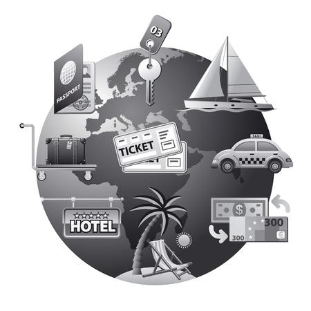 clave sol: concepto de viajes de icono gris