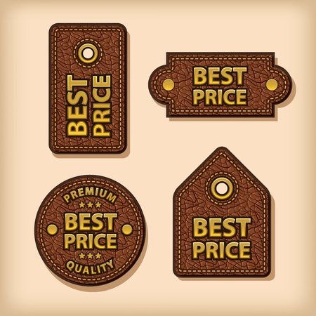 best price leather labels Vector