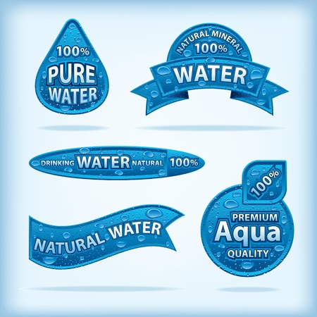 natural water labels Stock Vector - 21746633