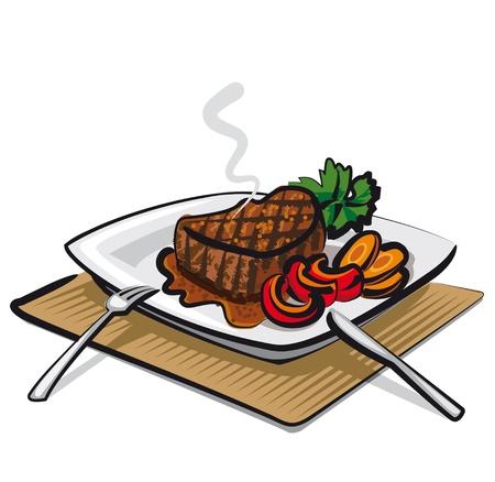steak plate: grilled beef steak Illustration