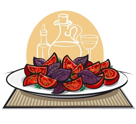 basil: fresh salad with tomatoes and basil Illustration