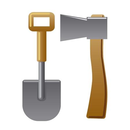 axe and shovel Иллюстрация