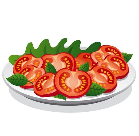 basil herb: Ensalada de tomate fresco