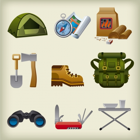 boot camp: hike equipment icon set