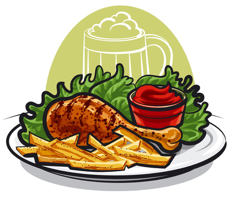 cooked meat: chicken leg and fries