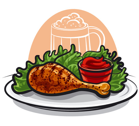 roast dinner: fried chicken leg Illustration