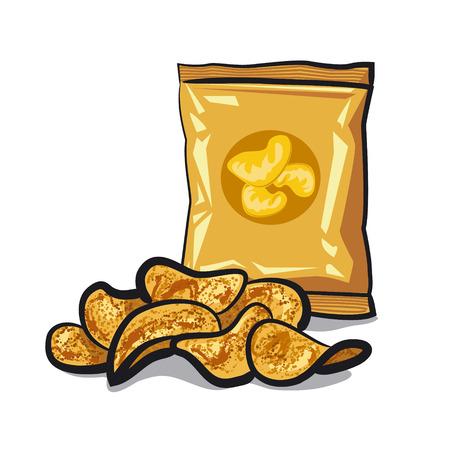 prepared potato: potato chips Illustration