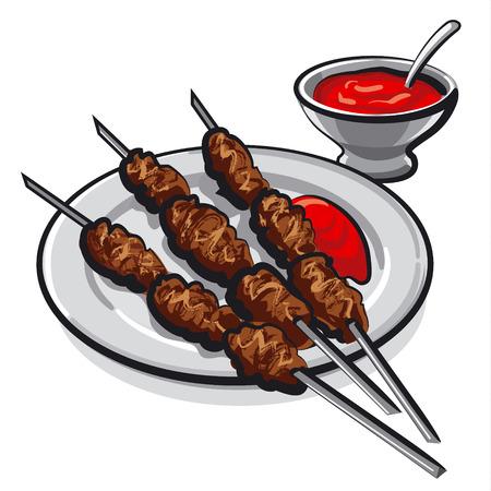 kebab: kebab with sauce Illustration