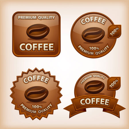 coffee glossy labels Vector