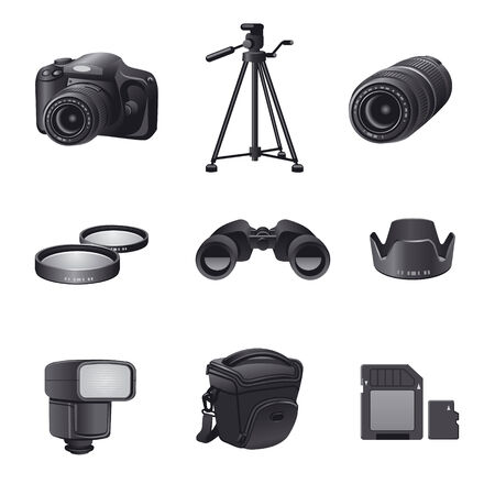 tripods: photo devices gray icon set